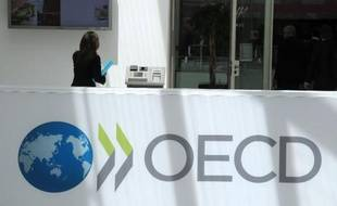 Logo de l'OCDE, à Paris, le 29 mai 2013