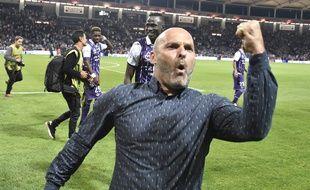 Pascal Dupraz, l'entraîneur du TFC, après la victoire face au Paris Saint-Germain en Ligue 1, le 23 septembre 2016 au Stadium de Toulouse.