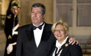 Patrick Balkany et son épouse Isabelle à l'Elysée, le 11 mars 2008.