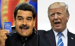 Les présidents vénézuélien Nicolas Maduro et américain Donald Trump.