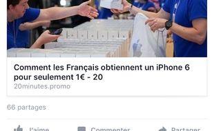 Copie d'écran de la fausse page Facebook de 20 Minutes France
