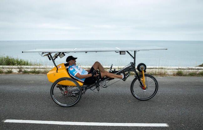 Bernard Cauqil avec son vélo couché solaire, grand gagnant de l'édition 2015 du Sun Trip, vise les trois premières places cette année et profitera de la course pour tester le vélo solaire sans chaine.