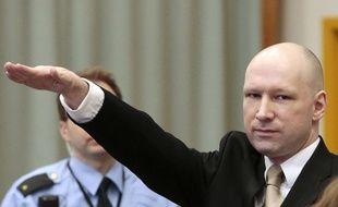Anders Behring Breivik, lors de l'audience du 15 mars 2016, à Skien (Norvège).