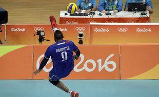Ngapeth lors d'un match contre les USa lors des Jeux de Rio, le 13 août 2016.