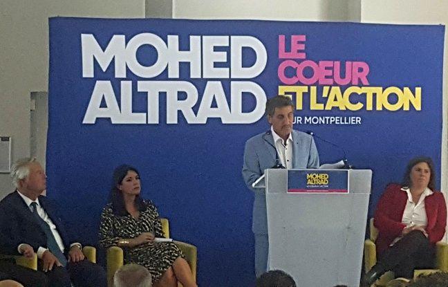 Mohed Altrad, le 16 septembre 2019, lors de l'annonce de sa candidature pour les élections municipales de 2020, entouré de Serge Grand (sénateur LR), Flora Labourier (ex-porte parole du PS héraultais) et Virginie Rozière (ex-députée européenne du Parti radical de gauche).