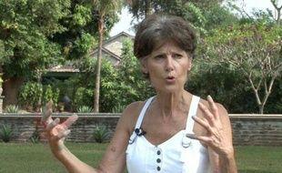 Capture d'écran d'une vidéo de l'AFP montrant l'ex-otage Claudia Priest, lors d'une interview, le 24 janvier 2015 à Bangui