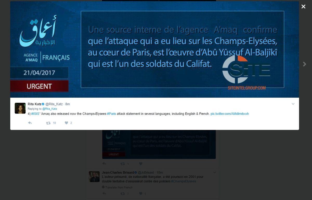 Daesh a revendiqué l'attaque contre des policiers sur les Champs-Elysées, le 20 avril 2017. – SITE GROUP