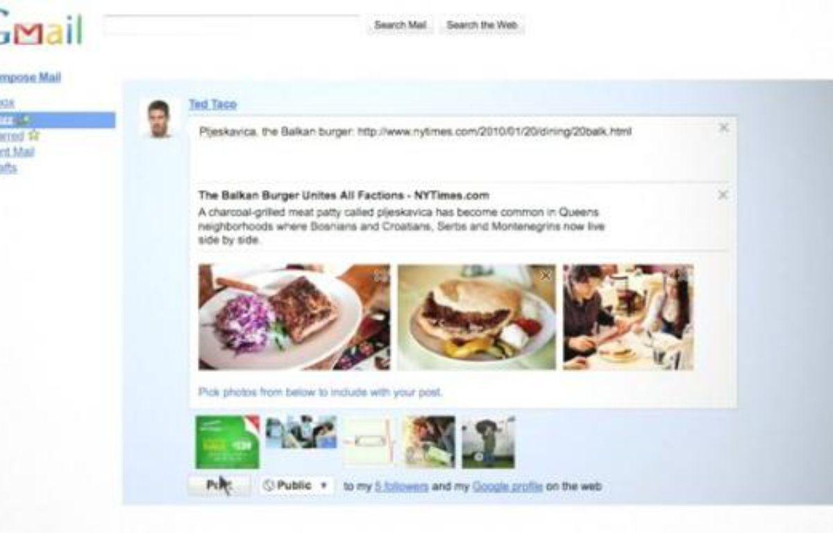 L'interface de Google Buzz, un service intégré à Gmail – DR