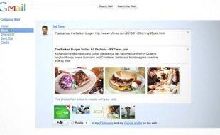 L'interface de Google Buzz, un service intégré à Gmail