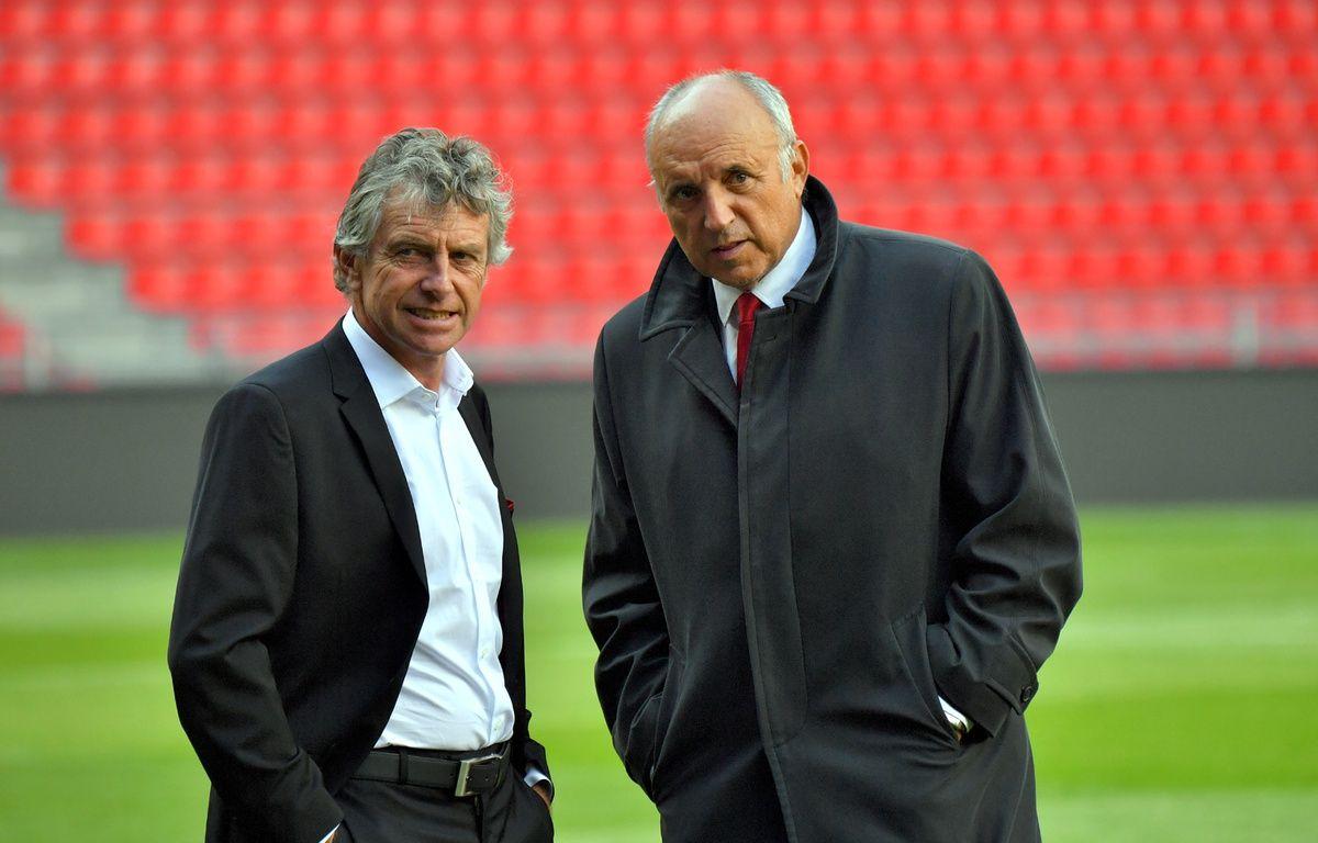 Christian Gourcuff et René Ruello, désormais ex-entraîneur et ancien président du Stade Rennais. – L. Venance / AFP