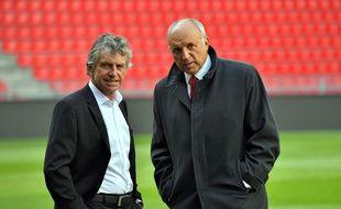 Christian Gourcuff et René Ruello, désormais ex-entraîneur et ancien président du Stade Rennais.