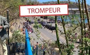 La photo virale prise le jour de la visite d'Emmanuel Macron à Mayotte. (Mayotte la 1ère)