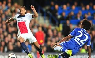 Le Parisien Lucas lors du quart de finale retour de Ligue des champions Chelsea-PSG (3-1), le 8 avril 2014.
