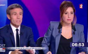 David Pujadas et Léa Salamé présentent « 15 minutes pour convaincre », le dernier grand rendez-vous des onze candidats avant l'élection, le 20 avril 2017.