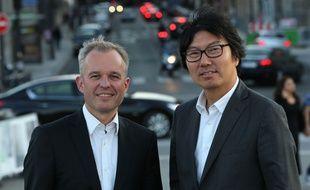 Les parlementaires écologistes François de Rugy (à gauche) et Jean-Vincent Placé, membres de la nouvelle formation UDE, le 9 septembre 2015 à Paris.