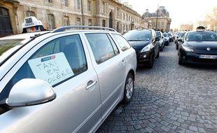 Les taxis sont en grève contre les VTC, le 10 février 2014.