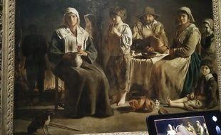 Devant «Famille de paysan», le visiteur entoure ce qui a attiré son regard dans le tableau.