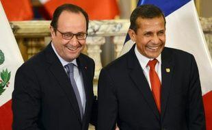 Les présidents français et péruvien François Hollande et Ollanta Humala à Lima, le 23 février 2016