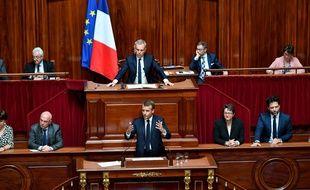 Emmanuel Macron au Congrès de Versailles.