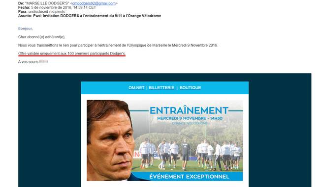 Invitation de l'OM à l'entraînement au Vélodrome du 9 novembre