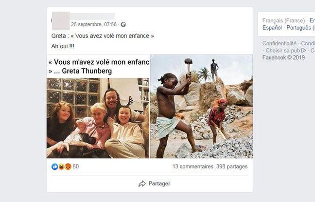 Des photos de Greta Thunberg sont apposées à côté d'images d'enfants travaillant.