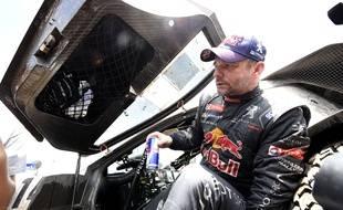 Sébastien Loeb après sa première victoire d'étape sur le Dakar, le 4 janvier 2015, en Argentine.
