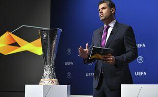 Le tirage au sort de la phase finale de la Ligue Europa, le 10 juillet 2020 à Nyon.