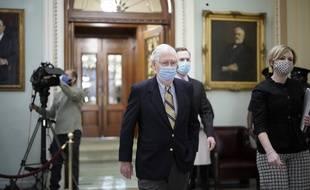 Le chef de la minorité républicaine au Sénat Mitch McConnell au procès de Donald Trump, le 13 février 2021.