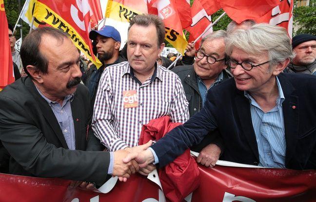 Philippe Martinez (CGT) et Jean-Claude Mailly (FO) le 12 mai 2016 lors d'une manifestation contre la Loi Travail