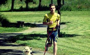 Le chien est attaché au coureur par une laisse extensible.