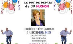 Communiqué de presse des jeunes pop de l'UMP invitant à se rendre au pot de départ à la retraite de Jean-Paul Huchon.