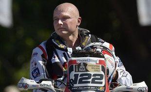 Le motard belge Eric Palante le 4 janvier 2014 à Rosario avant le départ du Dakar.