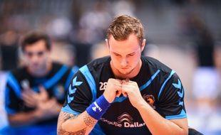 Valentin Porte, l'arrière droit du Fenix Toulouse, avant le match de D1 de handball entre le Fenix et Dunkerque, le 24 septembre 2014 .