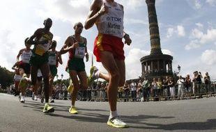 Les concurrents du marathon à Berlin, le 22 août 2009