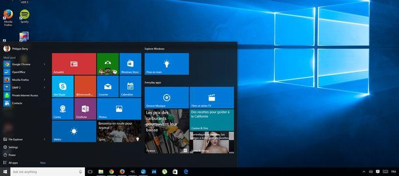 Le bureau de Windows 10.