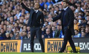 Mauricio Pochettino et Pep Guardiola lors de Tottenham-Manchester City, le 2 octobre 2016.