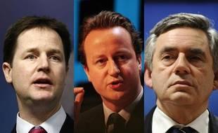 Photomontage représentant Nick Clegg, David Cameron et Gordon Brown, les leaders des trois partis britanniques majoritaires, en lice pour les élections législatives du 6 mai 2010 au Royaume-Uni.