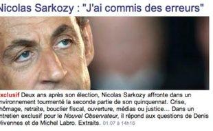 Capture d'écran de l'interview de Nicolas Sarkozy sur le site du Nouvel Obs le 1er juillet 2009