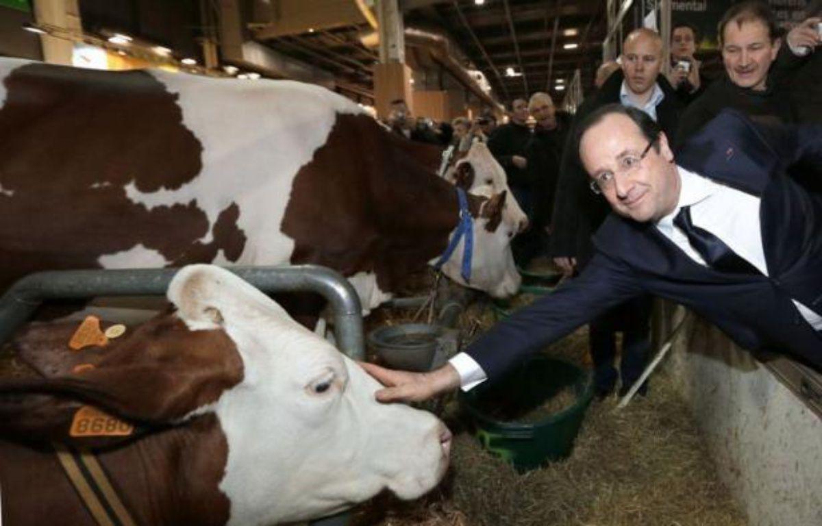 """Le président François Hollande a promis un soutien """"exceptionnel"""" aux producteurs laitiers et, réagissant au scandale du cheval, exigé un """"étiquetage obligatoire"""" sur l'origine des viandes dans les plats cuisinés, en inaugurant samedi à Paris le 50e Salon de l'Agriculture. – Kenzo Tribouillard AFP POOL"""