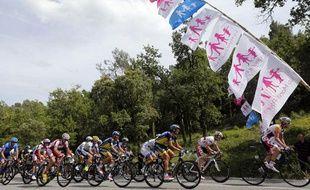 Les coureurs du Tour de France passent devant des drapeaux d'opposants au Mariage pour tous, le 3 juillet 2013.