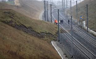 Glissement de terrain près de Saverne (Bas-Rhin) à l'origine du déraillement d'un TGV le 5 mars 2020 sur la ligne Paris Strasbourg.