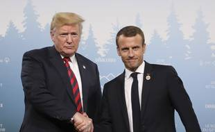 Donald Trump et Emmanuel Macron au G7 à La Malbaie, au Québec, le 8 juin 2018.