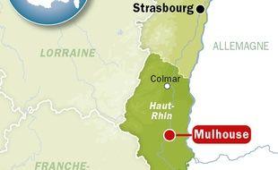 Carte de localisation de Mulhouse (Haut-Rhin).