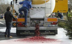 Des viticulteurs français vident un camion-citerne de vin espagnol le 4 avril 2016 au Boulou, près de la frontière franco-espagnol (Illustration).