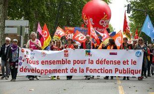 La journée de mobilisation des fonctionnaires a rassemblé 108.900 manifestants en France selon le ministère de l'Intérieur le 9 mai 2019.