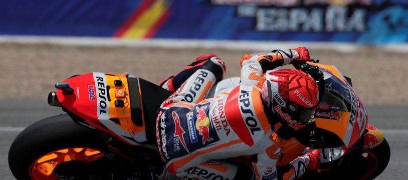 Marc Marquez lors de la première séance d'essais libres du Grand Prix d'Espagne, le 30 avril à Jerez.