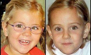 Montage de photographies des jumelles de 6 ans disparues, Alessia et Livia Schepp.