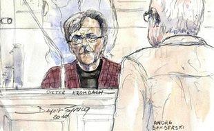 Croquis de Dieter Krombach devant la cour d'assises de Paris le 29 mars 2011.
