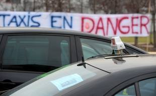 Illustration d'une manifestation de taxis