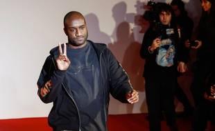 Virgil Abloh, à la fin du défilé de la collection automne/hiver 2018-2019 de sa marque Off White, à Paris, le 17 janvier 2018.